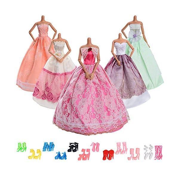 17a777950 ... Muñeca Barbie – 5 piezas moda vestido de novia grande y 12 pares de zapatos  para regalo niña. Asiv-17-pz-ropa-y-zapatos-para-Mueca-
