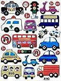 Auto Bus Krankenwagen Polizei Roller Taxi bunt Aufkleber 26-teilig 1 Blatt 135 mm x 100 mm Sticker Basteln Kinder Party Metallic-Look