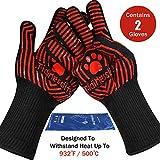 Tidinesslife Grillhandschuhe BBQ Handschuhe extrem hitzebeständige Ofenhandschuhe Red
