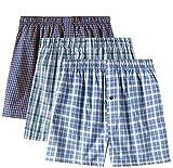 LAPASA Herren Baumwolle Boxershorts, 4er & 3er Pack Unterwäsche mit Eingriff, Lässiger American-Style M03 & M40 MEHRWEG (L, Mehrfarbige Gruppe 1, 3 Pack)