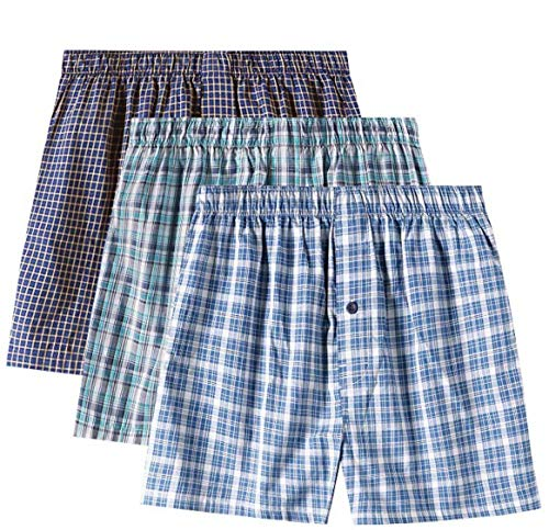LAPASA Lot de 3 Caleçons à Carreaux Homme 100% Coton Premium Ultra Doux et Confortable M40 (L (Tour de Taille : 91-96 cm), Lot de 3 Couleurs-1)