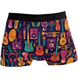 Ahomy Boxer Shorts Mens Underwear Colorful Music Guitar Headset Musical Instruments Soft Fabric Polyester Shorts Trunks