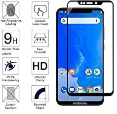 Azzil Tempered Glass Premium Quality 9H [Black 5D 6.2 inch] Screen Protector Guard for Moto One Power (P30 Note)