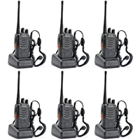 ELE ESPIRIT Baofeng BF-888S UHF 400-470MHz CTCSS/DCS Handheld Amateur Radio Tranceiver Walkie Talkie Two Way Radio Long Range Black (Pack of 6) with Two Pairs of headsets Free