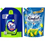 Surf Excel Matic Top Load Liquid Detergent and Comfort After Wash Fabric Conditioner Refill Pouch – Super Saver combo Pack, 2
