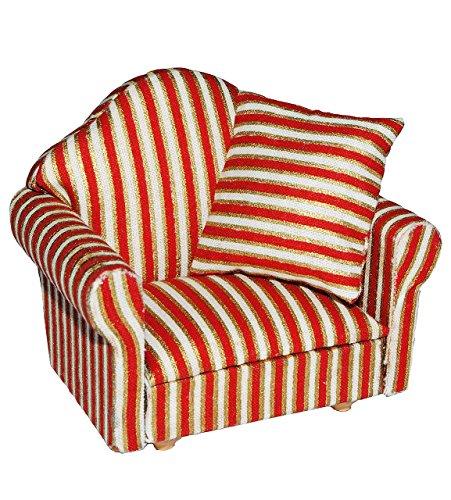 Preisvergleich Produktbild Miniatur Sessel mit Kissen - für Puppenstube Maßstab 1:12 - rot weiß golden - gestreift - Puppenhaus Puppenhausmöbel Sofasessel Wohnzimmer Klein - für Wohnzimmerlandschaft - Puppensofa - Möbel Wohnlandschaft - Miniatur Diorama