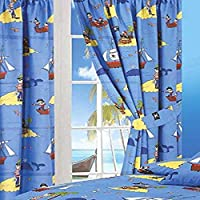 "66"" Width x 72"" Drop Curtains, Treasure Island, Pirates Whale Sea Ocean Fishes Ship Skull & Bones Parrot, Blue Yellow Black White Red, With Matching Tie Backs"