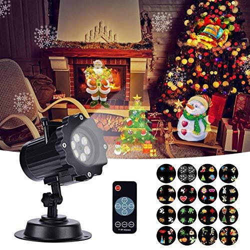 Proiettore Luci Natale, LED Esterno Proiettore con 16 Lenti Intercambiabili 5 Modalità Telecomando RF Impermeabile Projector Lampada per Natale, Matrimonio, Compleanno, Festa, Giardino