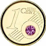 Coin - vergoldet (24 Karat) - Juli- Mit Monatsstein - Jeder Monat in einer anderen SWAROVSKI Kristallfarbe - mit exklusiver Broschüre
