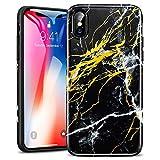 ESR Coque pour iPhone X, iPhone 10 Coque Silicone Motif Marbre, Housse Etui de Protection Bumper[Anti Choc] [Anti Rayures] [Ultra Fine] [Ultra Léger] pour Apple iPhone X (2017) 5,8 Pouces (Noir Or)