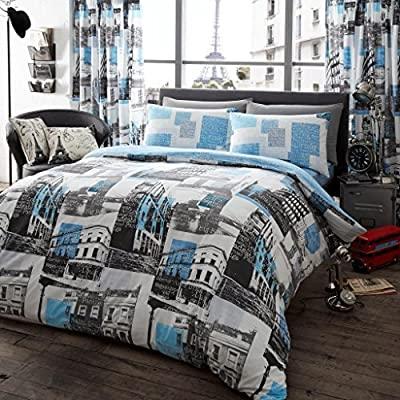 Duvet Cover and Pillowcase Set Quilt Bedding Set With Pillow Cases Single Double King Super King Size Printed Floral London To Paris Reversible - cheap UK light shop.