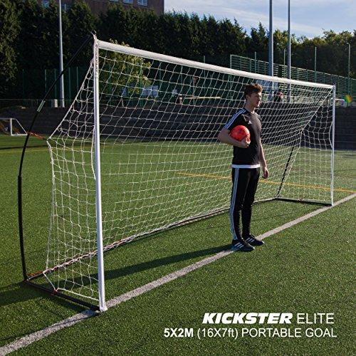 QUICKPLAY Kickster Elite Fußballtore 5 x 2M- Ultra Tragbar Innerhalb und Draussen Fußballtor | Verfügt über eine gewichtete Basis [einzelnes Fußballtor] -