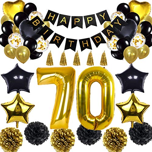 ationen Ballon Banner - Happy Birthday Banner, 70. Gold Anzahl Ballons, Schwarz und Gold, Nummer 70 Geburtstag Ballons, 70 Jahre alt Geburtstag Dekoration ()