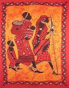 Dessus de lit/couverture rouge design art tribal africain