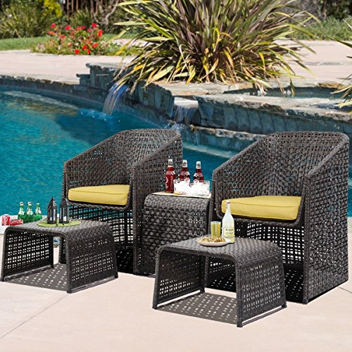 mascarello 5pcs chair rattan garden furniture set dining table weave outdoor w footstools. Black Bedroom Furniture Sets. Home Design Ideas