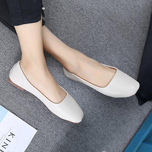 Xue Qiqi Court Schuhe Bottom Schuhe Square Kopf Shallow Mund Soft Peas Schuhe Bequeme Pedal Faule Menschen Wilde Schuhe College White Schuhe, 35, Weiß