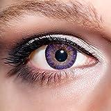 KwikSibs farbige violette Kontaktlinsen 1 Paar (= 2 Linsen) weiche Funlinsen, 3-farbig inklusive Behälter (Stärke / Dioptrie: 0 (ohne))
