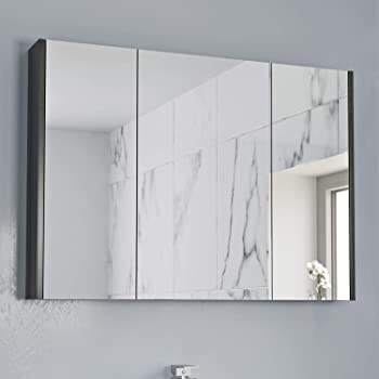 600mm Bathroom Mirror Cabinet Wall Mounted 2 Doors Unit Cupboard White Gloss