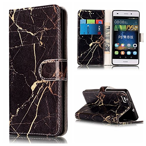 Für Huawei P8 Lite Horizontale Flip Case Cover Luxus Blume / Marmor Textur Premium PU Leder Brieftasche Fall mit Magnetverschluss & Halter & Card Cash Slots ( Color : D ) A
