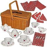 Unbekannt 28 TLG. Set: Picknickkorb -  Teeservice & Kaffeeservice - Marienkäfer - Punkte  - Geschirr aus Porzellan / Keramik - Puppengeschirr - Picknick-Korb / Pickni..