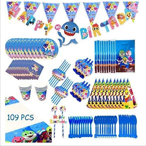 schirr Geburtstag, 109pcs Geschirr Kid's Shark Dekoration Jubiläum Teller für Mädchen und Jungen Happy Birthday Banner Dekoration Pappbecher ()