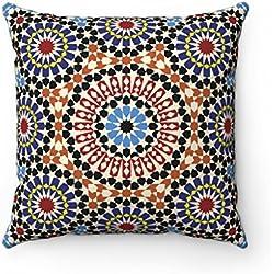Funda de cojín 43 x 43 cm, diseño geométrico Original marroquí, Colores: azul, negro, marrón.