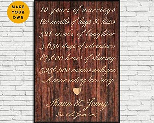 Wood Plaque 10. Jahrestag Geschenk für Frauen Geschenk Holzschild 10Jahre Hochzeitstag Geschenk für Männer Geschenk für sie Geschenk für ihn Panel Effekt Holz Schild 20,3x 29,2cm Zoll