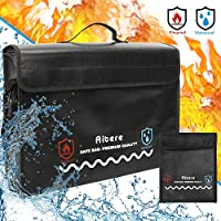 Aitere Fireproof Document Wallet 43 x 31 x 15 cm Fireproof Waterproof Bag Case for A4 Documents Passport Bank File Money Valuables with Bonus Pocket and YKK Zip