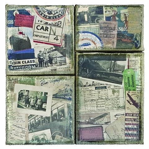 Idée-Ology District, toile de jute imprimée 4-Section marché panneaux-Destinations