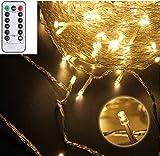 50er LED Lichterkette innen außen batteriebetrieben für Garten, Haushalt, Hochzeit, Weihnachtsfeier Dekoration [ Mit Fernbedienung, dimmbar, Timer, Memory-Funktion, wasserdicht ] (Warmweiß)