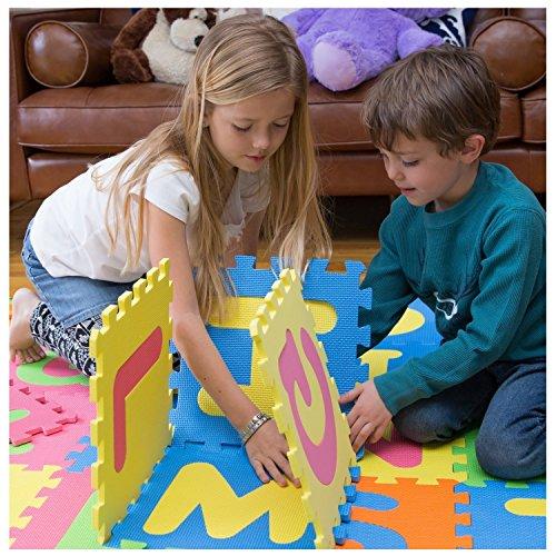 MousePotato 36 Piece Floor Puzzle Eva Mat Alphabets & Number Tiles Each 1 x 1 Foot Alphabet Thick Foam Play Mat for Kids