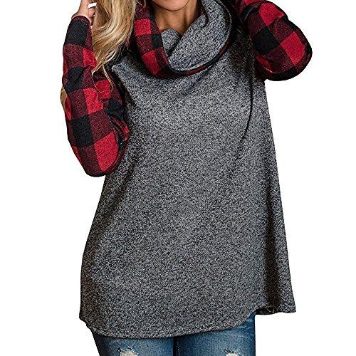 Donna Dolcevita Camicie Plaid Tops Tunica Manica Lunga Raglan Patchwork Felpa Pullover Maglietta Rosso
