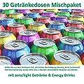 Getränke Box (30 Dosen, Mischkarton mit light/zero mit Energy Drinks, Dosen mit Beulen, kurzes MHD ) A3 Text lesen