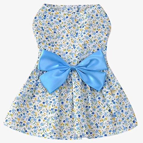 Estilo de la flor dulce perro de mascotas falda vestido de ropa traje de vestir con gran adorno bowknot para el día de fiesta de la boda Azul M