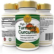 Suplemento Anti-Inflamatorio de Cúrcuma, 120 cápsulas Potencia Alta 450 Miligramos, 95% Curcumina - Más Fuerte, Más Eficaz Para El Alivio Del Dolor Natural, Las Articulaciones Saludables. Potente Antioxidante. Limpia El Sistema Digestivo, Alivia La fatiga Crónica