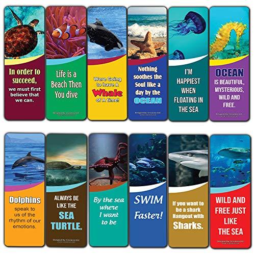 Segnalibri per bambini con animali dell'oceano, confezione da 30