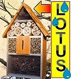Tolles Insektenhotel LOTUS + 2 x Sichtglas + Marienkäferhaus + Schmetterlingshaus, hellbraun braun Nistkasten Schmetterling Schmetterlingshaus Insektenhotel LOTUS,mit Lotus-Effekt Oberflächen Beschichtung und 2 Sichtgläsern 8 und 11 mm Beobachtungsröhrchen komplett mit Füllmaterial, Insektenhäuschen- ökologische biologische natürliche Blattlausbekämpfung
