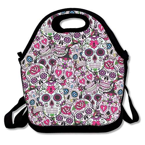 d1402a223c36c Sugar Skulls Pattern Outdoor Travel Lunch Bag Picnic Tote Waterproof