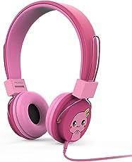 MoKo Kinder Kopfhörer - 1.5m On-Ear-Kopfhörer Music Gaming Wired Leicht Kopfhörer Headset Headphone mit Lautstärkenregler für IOS / Android Smartphones, Tablets, Computer, MP3 / 4 Players, Magenta