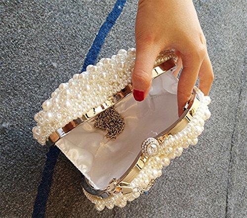 QPALZM Frau Liebt Perle Handtasche Mode Handtasche Umhängetasche Diagonale Paket Handtasche Abendessen Niedlichen Handtasche Beige