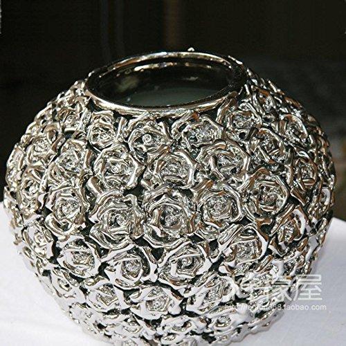 Upper-Florero florero de lujo latas redondas decoración jarrón jarrón chapados en plata.