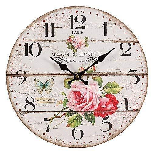 Vintage Rosenuhr, Nostalgie Wanduhr mit Rosenmotiv im Landhaus Stil, Uhr