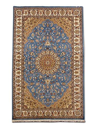Tradizionale a mano Kashan tappeto persiano, lana/Art. Seta (highlights), blu,