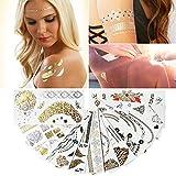 MUTUAL Metallic Temporäre Tattoos, Temporäre Klebe-Tattoos 12 Stück mit 150+ Motiven, Körper Tattoos Gold.