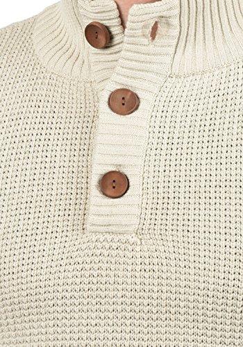 SOLID Travon Herren Strickpullover Feinstrick Troyer Pulli mit Stehkragen aus hochwertiger Baumwollmischung Meliert Oyster Grey (8215)