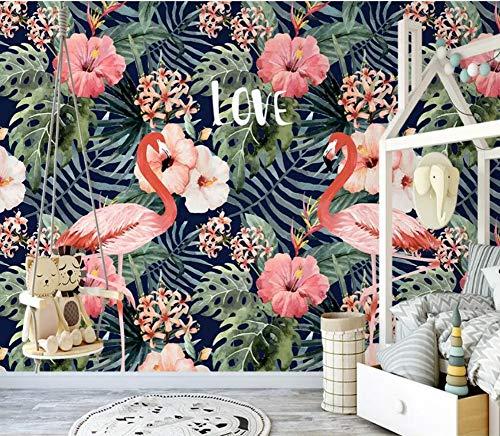 02e9cca320d Papier Peint 3D Flamant De Plantes Tropicales Vintage Dessiné À La Main  Moderne Fond D