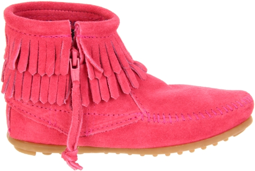 Minnetonka Double Fringe Zip Hot Pink Suede Rose