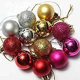mark8shop 24pcs adorno navideño Árbol de Navidad Decoración de bolas de purpurina