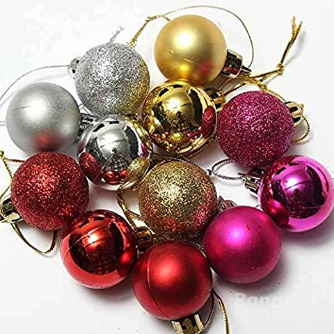 mark8shop 24Xmas Tree Dekoration Weihnachten Glitter Kugeln Ornament