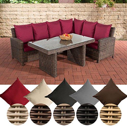 CLP Polyrattan Gartengarnitur MINARI | Sitzgruppe mit 6 Sitzplätzen | Pflegeleichte Gartenmöbel mit Aluminium-Gestell | In verschiedenen Farben erhältlich Rattan Farbe braun-meliert, Bezugfarbe: Rubinrot